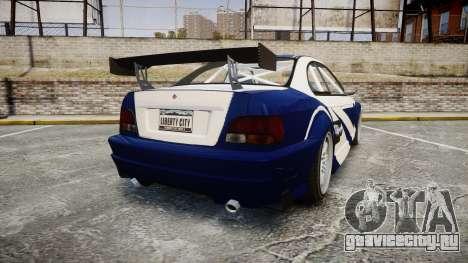 Ubermacht Sentinel GTR Most Wanted style для GTA 4 вид сзади слева