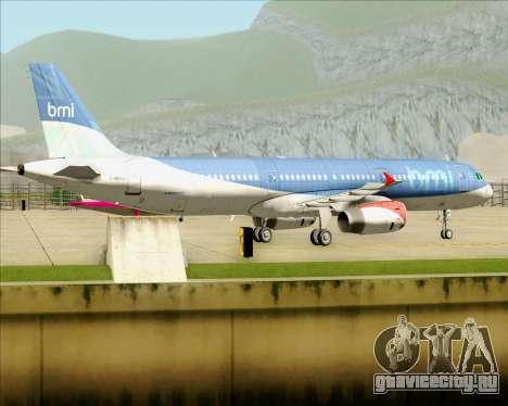 Airbus A321-200 British Midland International для GTA San Andreas вид сзади