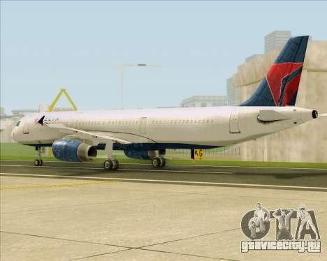 Airbus A321-200 Delta Air Lines для GTA San Andreas вид сзади слева