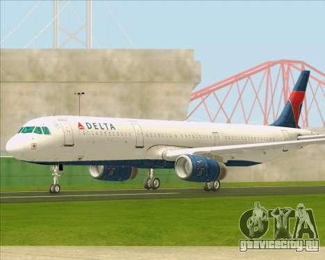 Airbus A321-200 Delta Air Lines для GTA San Andreas вид изнутри