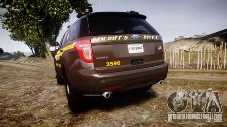 Ford Explorer 2013 Sheriff [ELS] Virginia для GTA 4 вид сзади слева