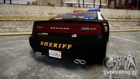 GTA V Bravado Buffalo LS Sheriff Black [ELS] для GTA 4 вид сзади слева