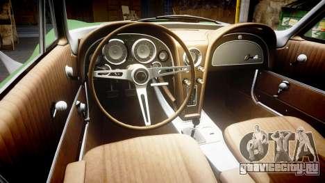 Chevrolet Corvette Stingray 1963 для GTA 4 вид изнутри