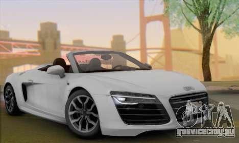 Audi R8 V10 Spyder 2014 для GTA San Andreas вид сзади слева