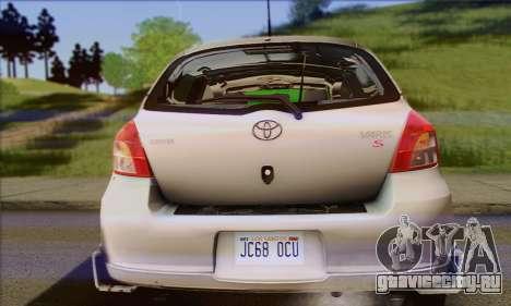 Toyota Yaris Shark Edition для GTA San Andreas вид сзади