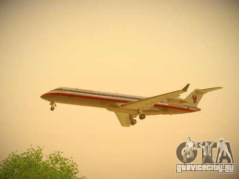 Bombardier CRJ-700 American Eagle для GTA San Andreas вид изнутри