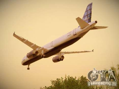 Airbus A321-232 jetBlue Blue Kid in the Town для GTA San Andreas вид снизу