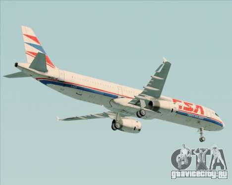 Airbus A321-200 CSA Czech Airlines для GTA San Andreas вид сзади
