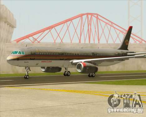 Airbus A321-200 Royal Jordanian Airlines для GTA San Andreas вид снизу