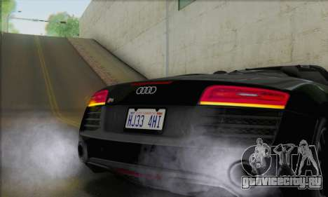 Audi R8 V10 Spyder 2014 для GTA San Andreas вид изнутри
