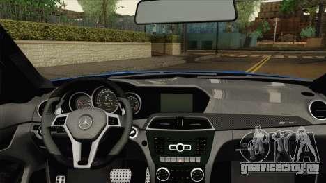 Mercedes-Benz C63 AMG Sedan 2012 для GTA San Andreas вид сзади слева