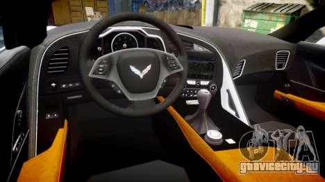 Chevrolet Corvette Z06 2015 TireBr3 для GTA 4 вид изнутри