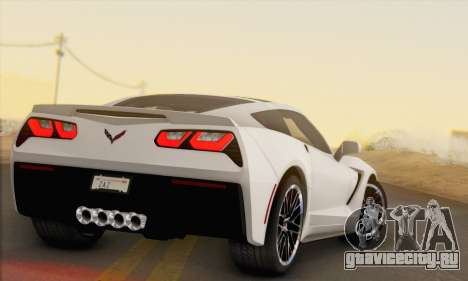 Chevrolet Corvette Stingray C7 2014 для GTA San Andreas вид сзади слева