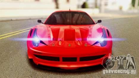 Ferrari 62 F458 2011 для GTA San Andreas вид изнутри
