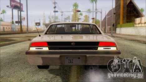 GTA 5 Vigero для GTA San Andreas вид сзади слева