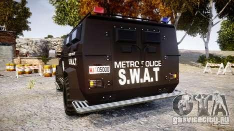 SWAT Van Metro Police [ELS] для GTA 4 вид сзади слева