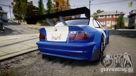 BMW M3 E46 GTR Most Wanted plate NFS ND 4 SPD для GTA 4 вид сзади слева
