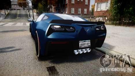 Chevrolet Corvette Z06 2015 TireBr3 для GTA 4 вид сзади слева