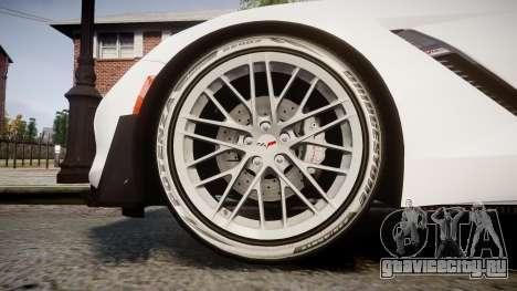 Chevrolet Corvette Z06 2015 TireBr3 для GTA 4 вид сзади