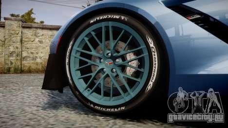 Chevrolet Corvette Z06 2015 TireMi1 для GTA 4 вид сзади
