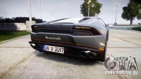 Lamborghini Huracan LP 610-4 2015 Blancpain для GTA 4 вид сзади слева