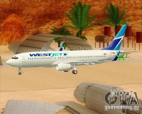 Boeing 737-800 WestJet Airlines для GTA San Andreas колёса