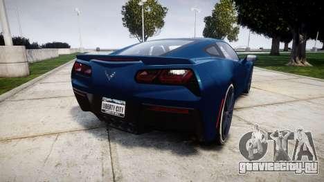 Chevrolet Corvette C7 Stingray 2014 v2.0 TirePi1 для GTA 4 вид сзади слева