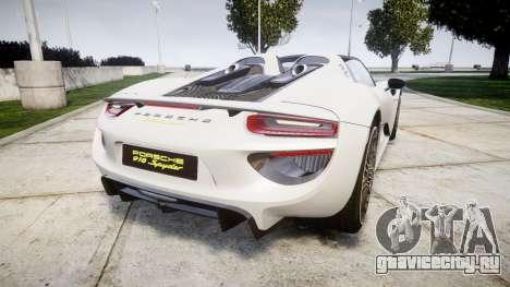 Porsche 918 Spyder 2014 для GTA 4 вид сзади слева
