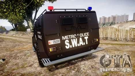 SWAT Van Metro Police для GTA 4 вид сзади слева