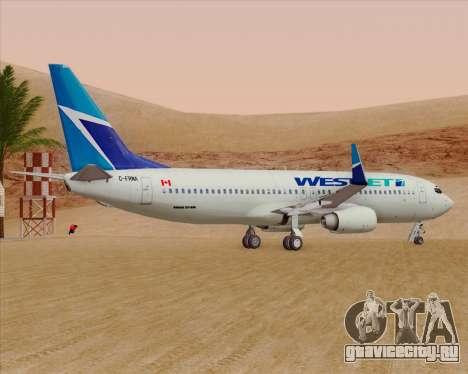 Boeing 737-800 WestJet Airlines для GTA San Andreas вид сзади