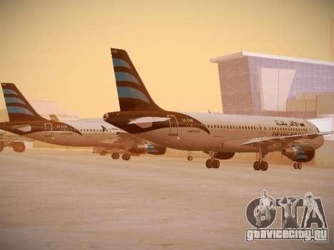 Airbus A320-214 Afriqiyah Airways для GTA San Andreas вид сзади слева
