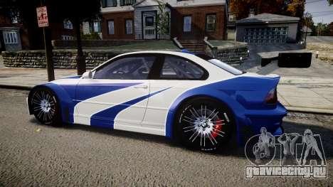 BMW M3 E46 GTR Most Wanted plate NFS ND 4 SPD для GTA 4 вид слева