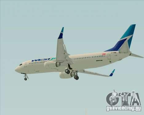 Boeing 737-800 WestJet Airlines для GTA San Andreas вид изнутри