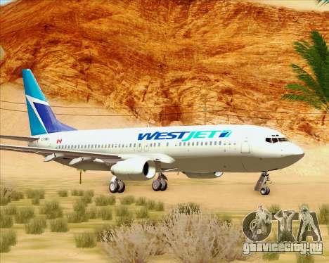 Boeing 737-800 WestJet Airlines для GTA San Andreas вид слева