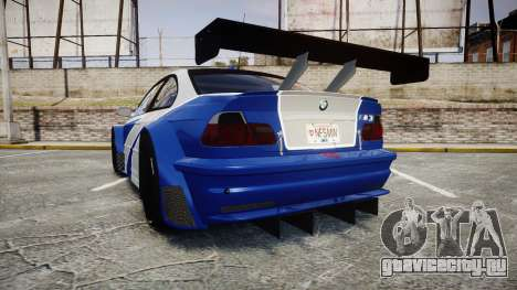 BMW M3 E46 GTR Most Wanted plate NFS MW для GTA 4 вид сзади слева