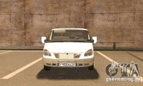 Газель Эвакуатор 33023 Beta v1.2 для GTA San Andreas вид изнутри