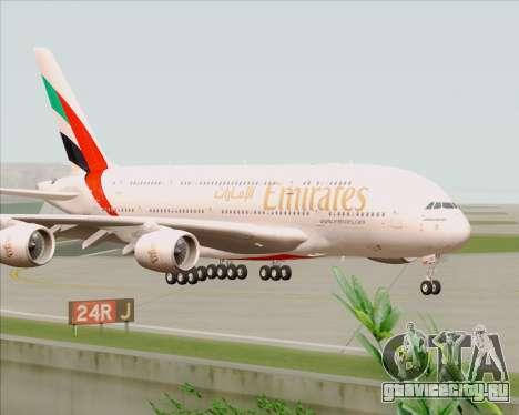 Airbus A380-800 Emirates 40 Anniversary Sticker для GTA San Andreas вид сзади слева