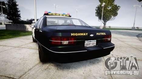 Chevrolet Caprice 1991 Highway Patrol [ELS] для GTA 4 вид сзади слева