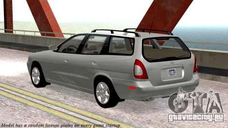Daewoo Nubira I универсал CDX США, 1999 г. для GTA San Andreas вид сверху