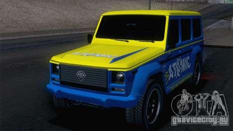 GTA 5 Benefactor Dubsta для GTA San Andreas вид сзади слева