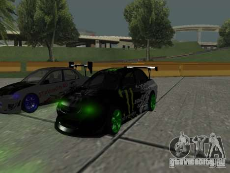Mitsubishi Lancer Evo 9 Monster Energy для GTA San Andreas вид слева