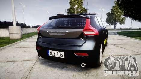 Volvo V40 Swedish TULL [ELS] для GTA 4 вид сзади слева