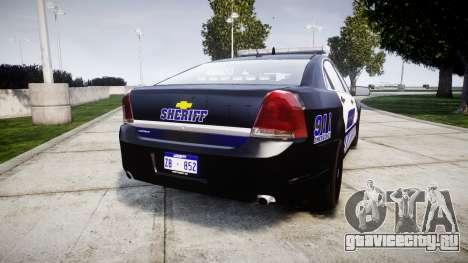 Chevrolet Caprice 2012 Sheriff [ELS] v1.1 для GTA 4 вид сзади слева
