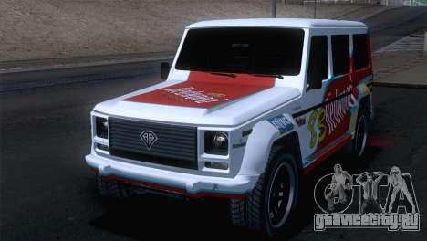 GTA 5 Benefactor Dubsta для GTA San Andreas вид изнутри