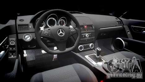 Mercedes-Benz C63 AMG 2010 для GTA 4 вид изнутри