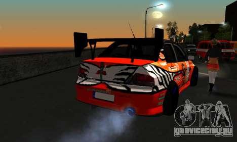 Mitsubishi Lancer Evo 9 Kumakubo Team Orange для GTA San Andreas вид сзади
