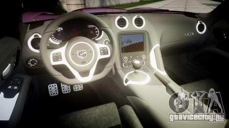 Dodge Viper SRT GTS 2013 Sharpie для GTA 4 вид изнутри