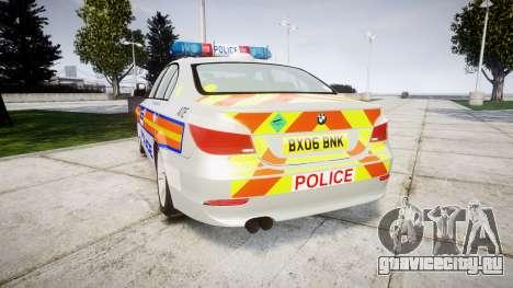 BMW 525d E60 2006 Police [ELS] для GTA 4 вид сзади слева