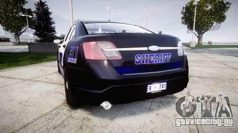 Ford Taurus 2014 Sheriff [ELS] для GTA 4 вид сзади слева