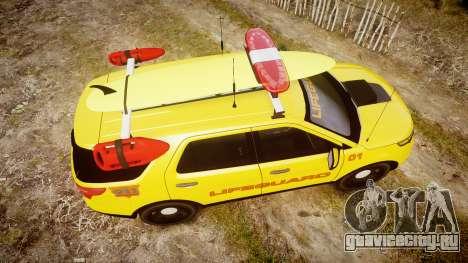 Ford Explorer 2013 Lifeguard Beach [ELS] для GTA 4 вид справа